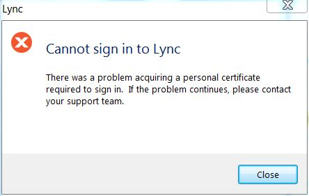 there was a problem acquiring a personal certificate required to sign in skype
